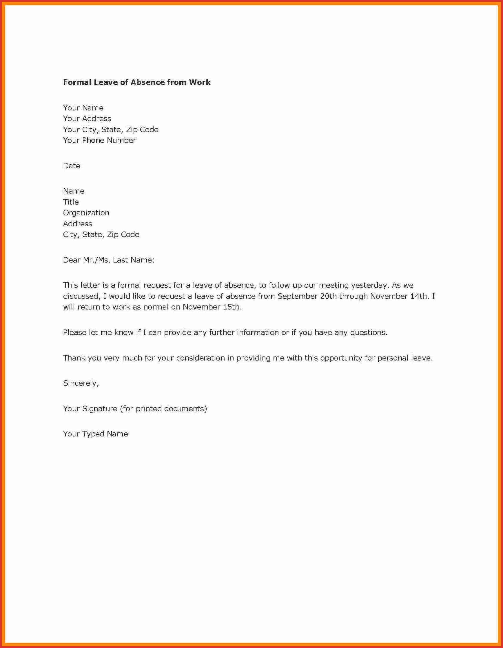 application to principal for leave of absence