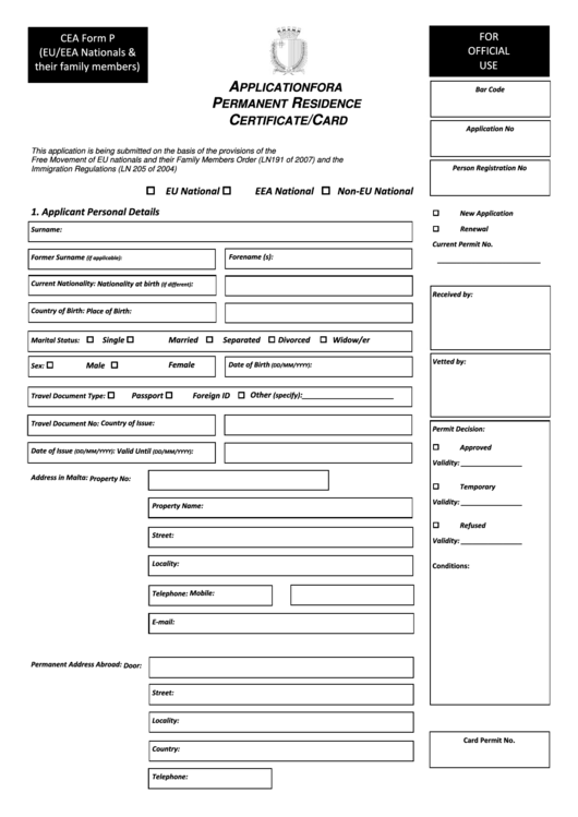 application for permanent residence in canada pdf