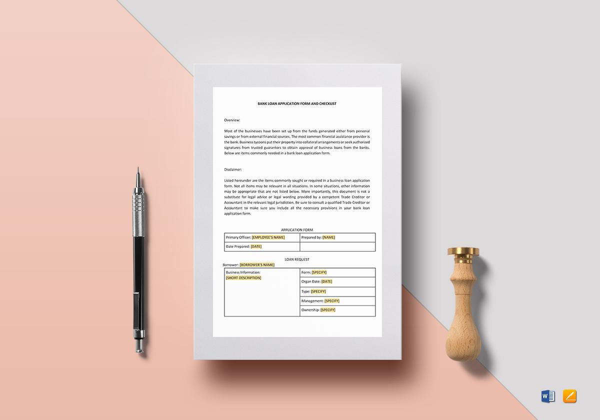 loan application format in word