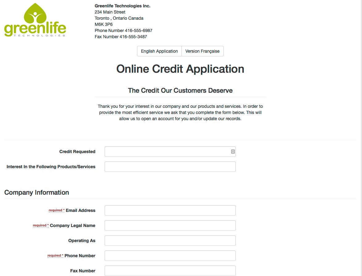 business credit application form template canada