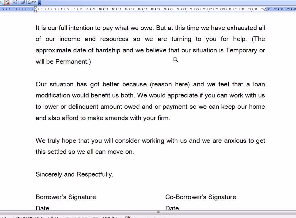 mortgage loan application letter sample