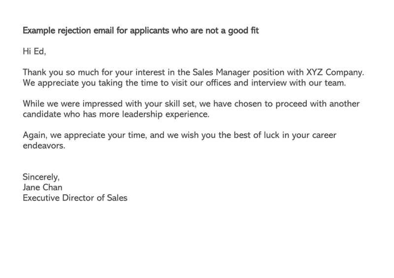 email response to job application