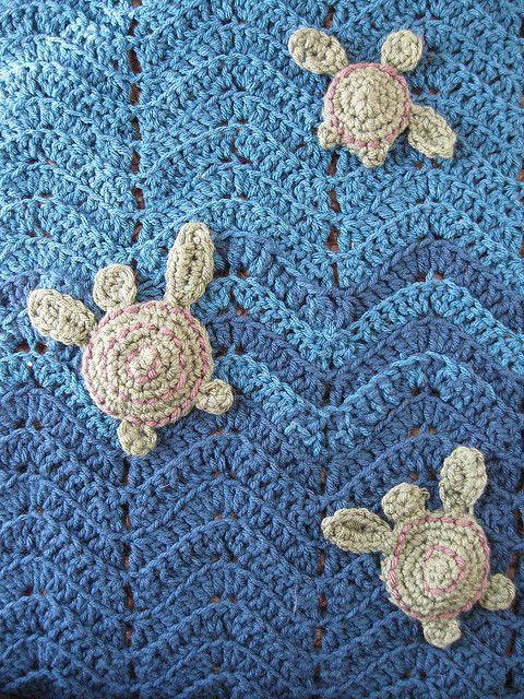 crochet sea turtle applique pattern