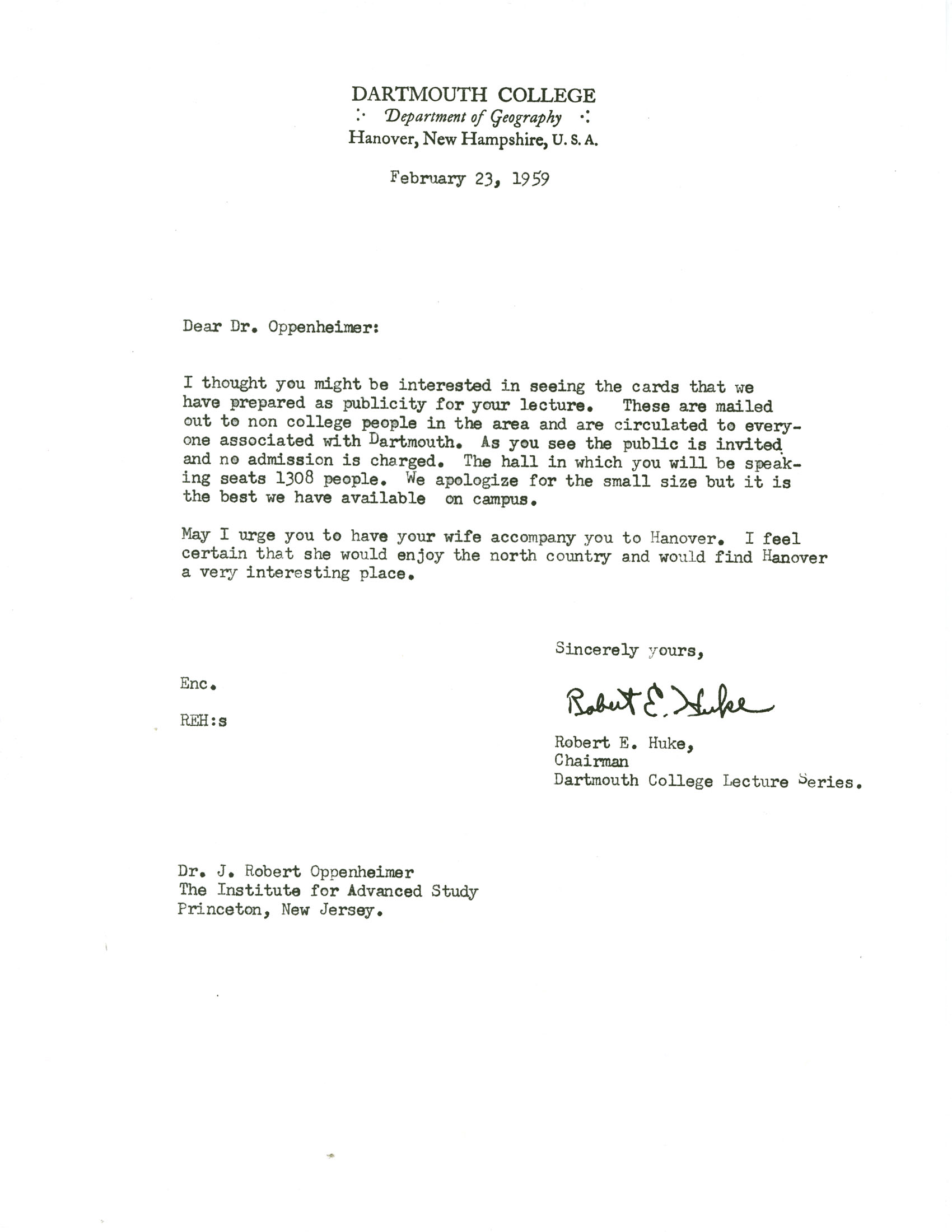letter accompanying a college application