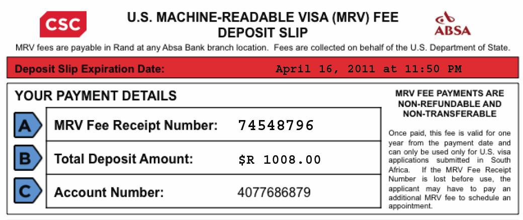 us visa application fee deposit slip