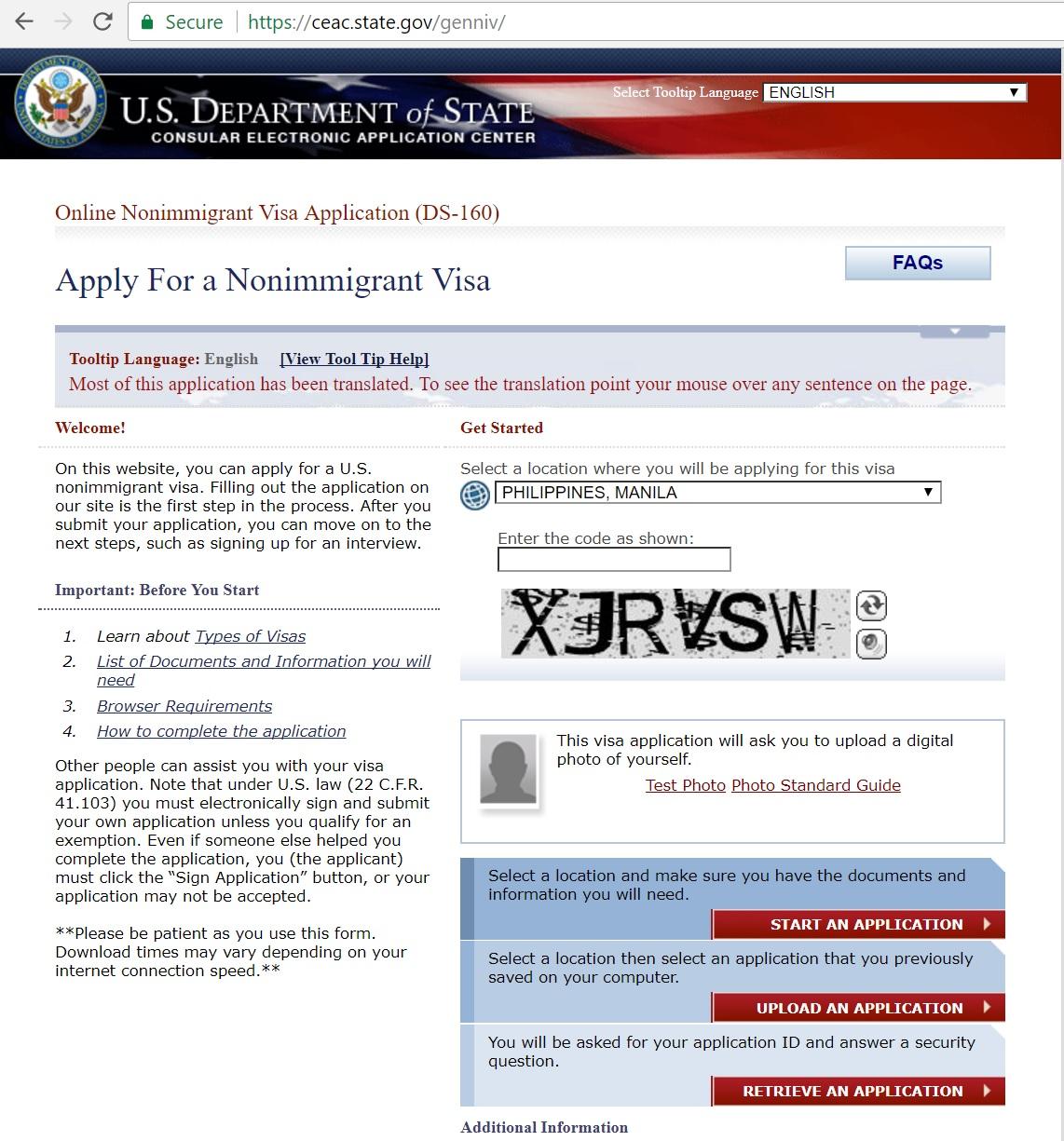 b2 non immigrant visa application