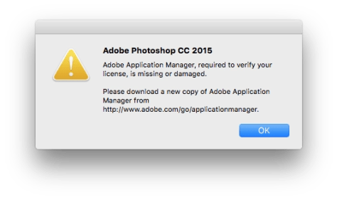 adobe application manager missing or damaged