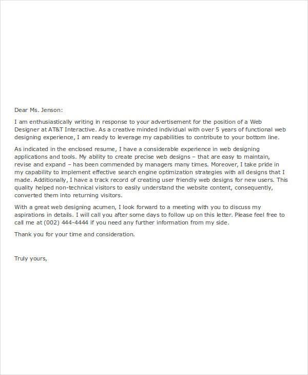 cover letter for online job application