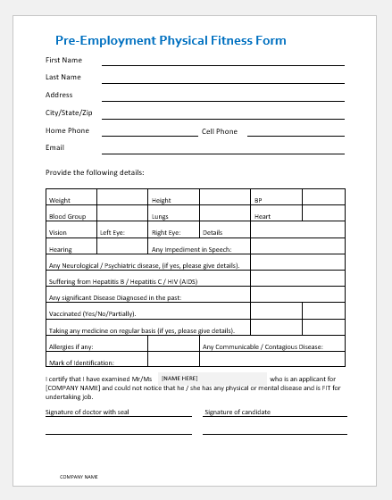 employer pre screen application form