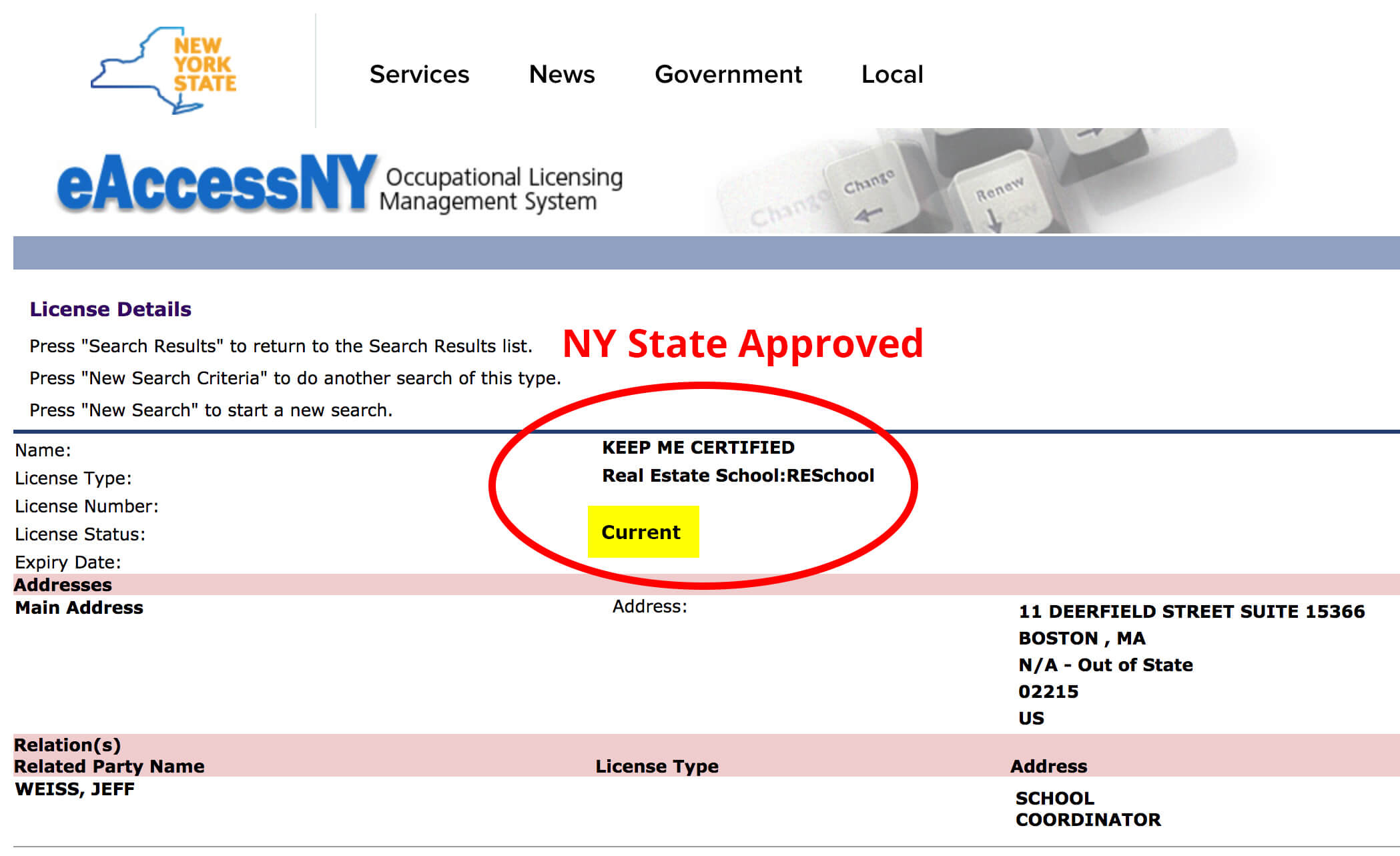 real estate license application status