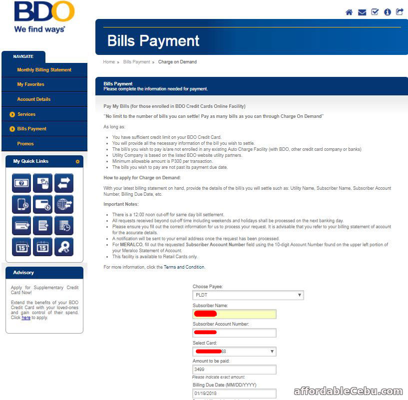 credit card application bdo requirements