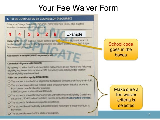 sat college application fee waiver