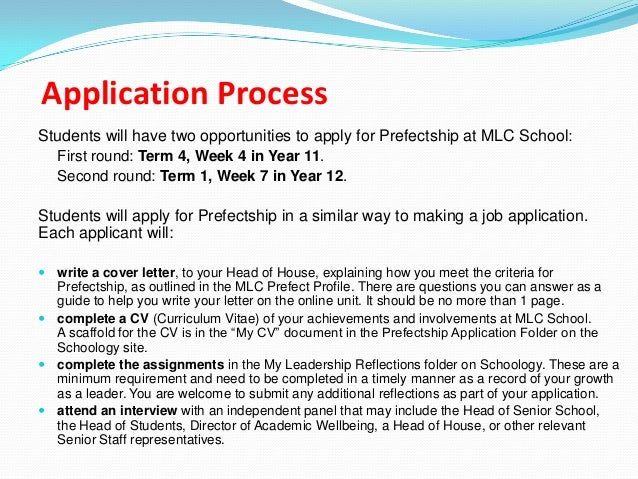 successful senior prefect letter of application