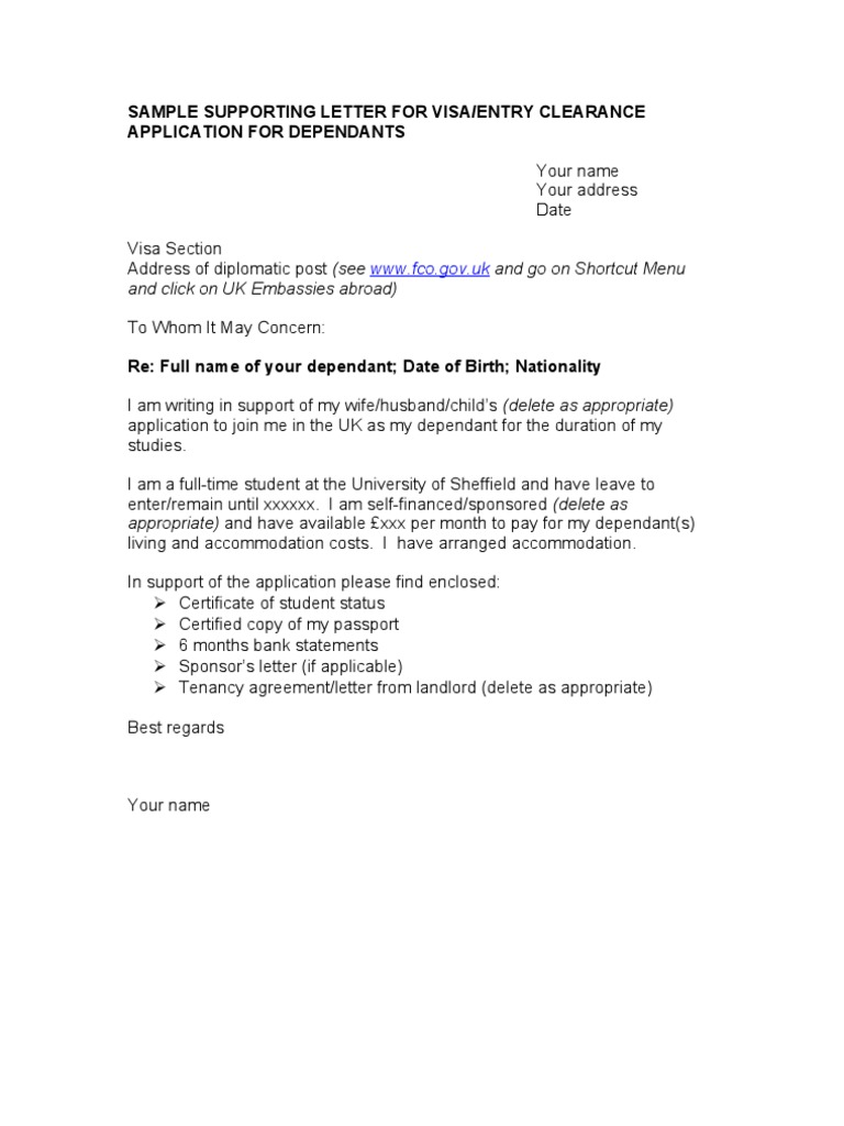 supporting letter for visa application from employer